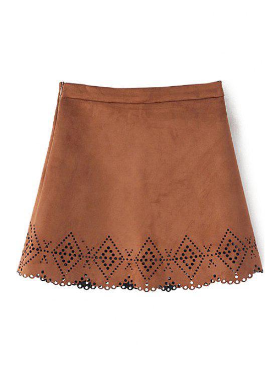 buy Argyle Pattern Openwork Solid Color Skirt - KHAKI S