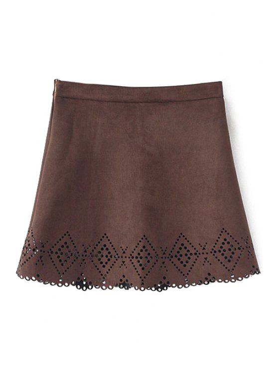 ladies Argyle Pattern Openwork Solid Color Skirt - COFFEE M