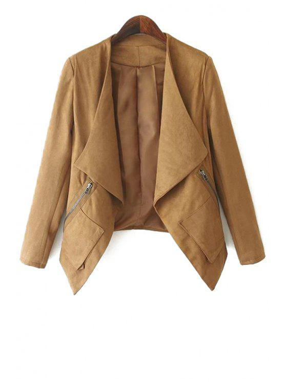 affordable Turn-Down Collar Solid Color Asymmetrical Coat - KHAKI XL