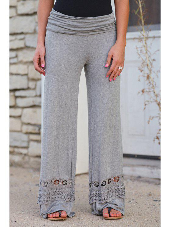 trendy Wide Leg Lace Spliced Pants - LIGHT GRAY L