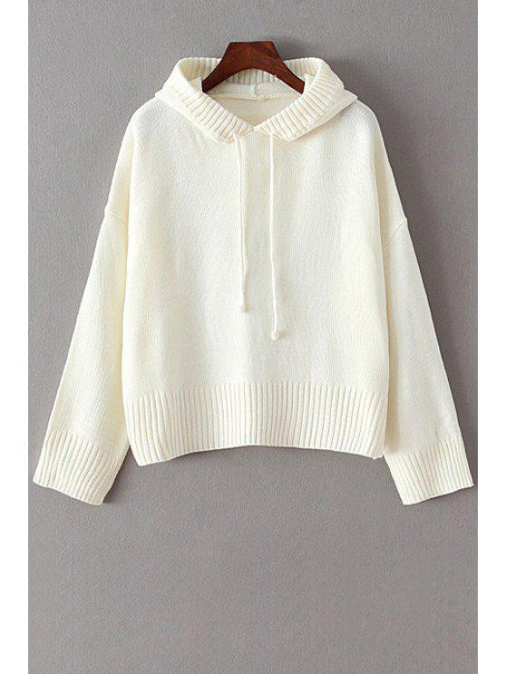 ladies Hooded Solid Color Long Sleeve Sweater - WHITE ONE SIZE(FIT SIZE XS TO M)