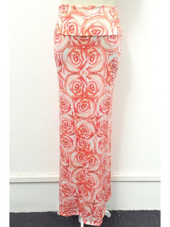 best Packet Buttocks Full Floral Maxi Skirt - PINK S