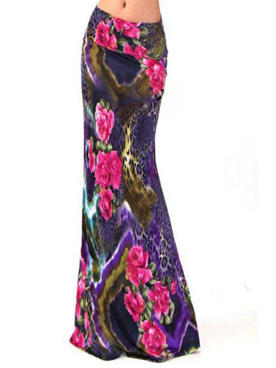 outfit Packet Buttocks Floral Print Maxi Skirt - PURPLE S