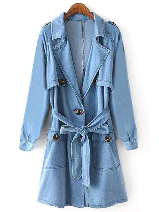 ladies Lapel Bleach Wash Belt Denim Trench Coat - BLUE S