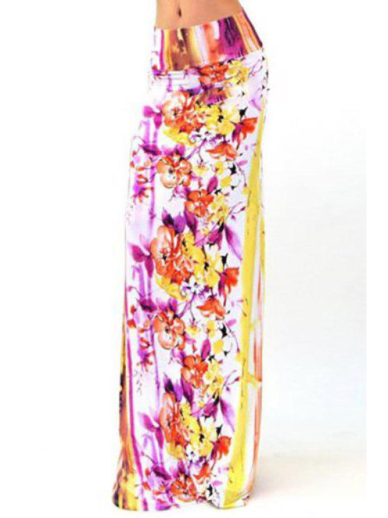 latest Packet Buttocks Plum Blossom Maxi Skirt - WHITE S