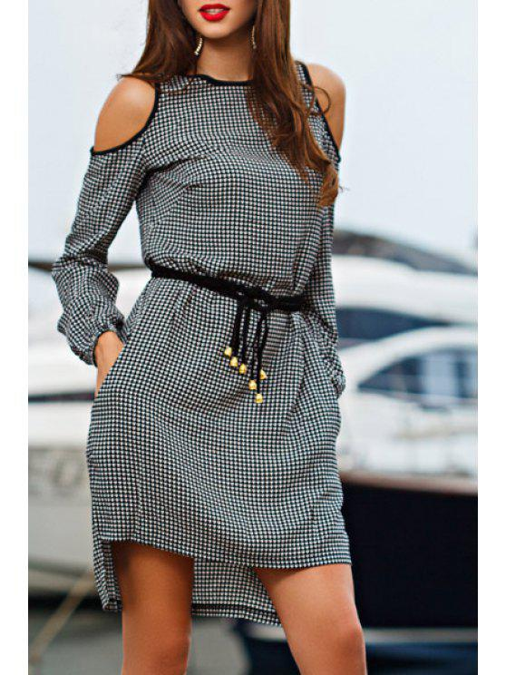 online Tiny Plaid High Low Long Sleeve Dress - BLACK S