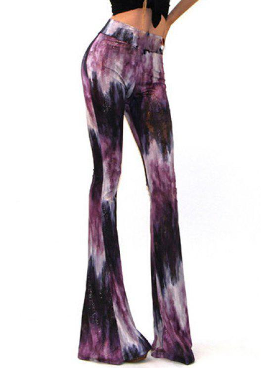 affordable High-Waisted Printed Flare Pants - PURPLE S