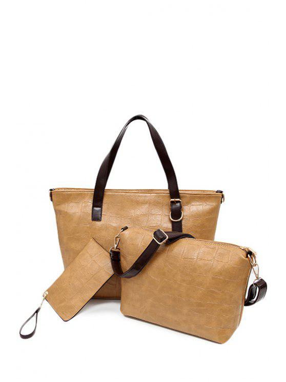 womens Zipper Buckle Solid Color Shoulder Bag - CAMEL