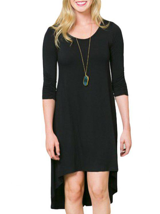 ladies High Low Solid Color Half Sleeve Dress - BLACK S