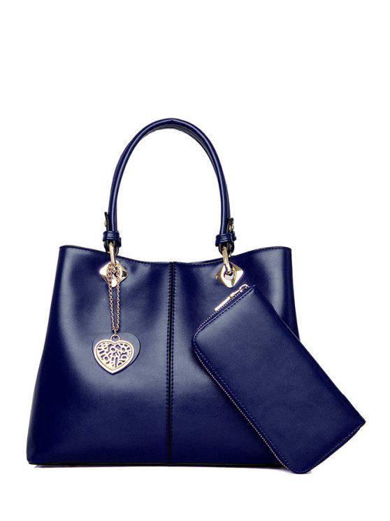shops Metal Pendant Solid Color Tote Bag - DEEP BLUE