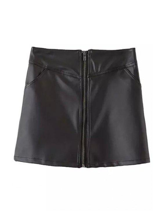 trendy Black A Line PU Leather Skirt - BLACK L