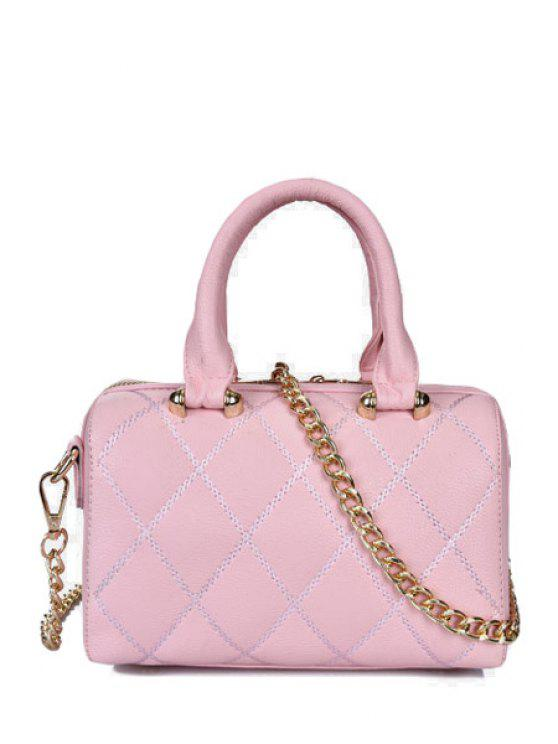 shops Chains Rivets Solid Color Crossbody Bag - PINK