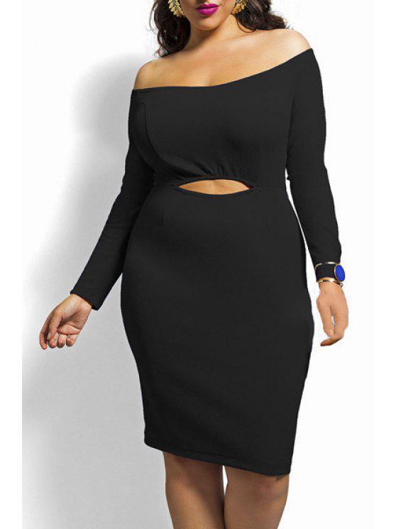 outfits Slash Neck Solid Color Hollow Out Dress - BLACK XL