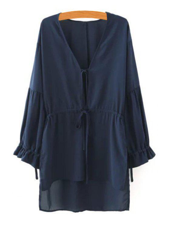 new High Low V Neck Long Sleeve Blouse - CADETBLUE S
