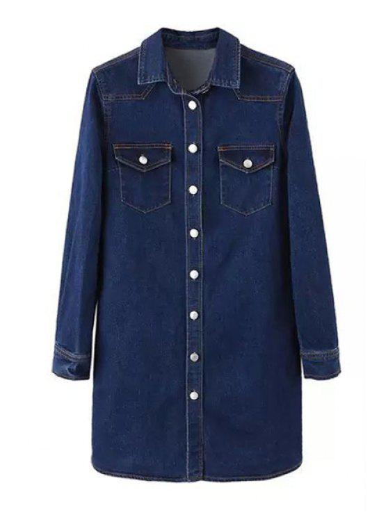 outfit Deep Blue Denim Turn Down Collar Long Sleeve Dress - DEEP BLUE L