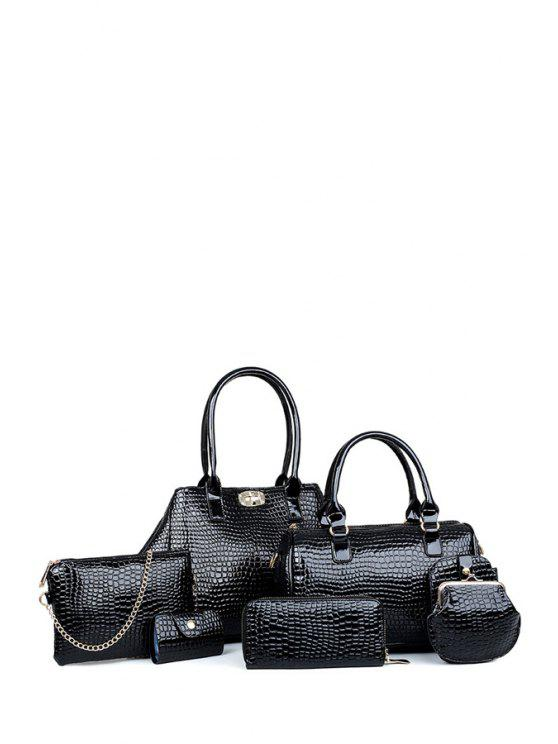 new Crocodile Print Hasp Solid Color Shoulder Bag - BLACK