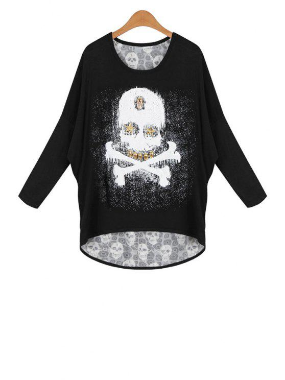 trendy Skulls Batwing Long Sleeves Round Collar T-Shirt - BLACK ONE SIZE(FIT SIZE XS TO M)