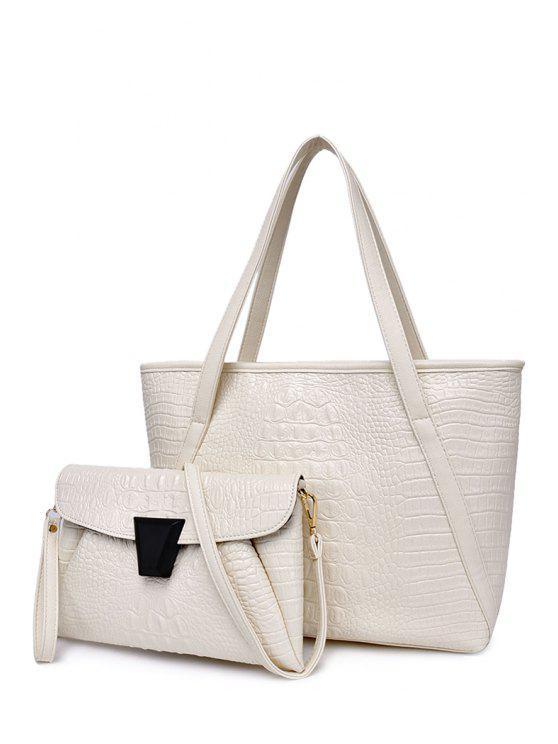fashion Solid Color Crocodile Print Zipper Shoulder Bag - WHITE