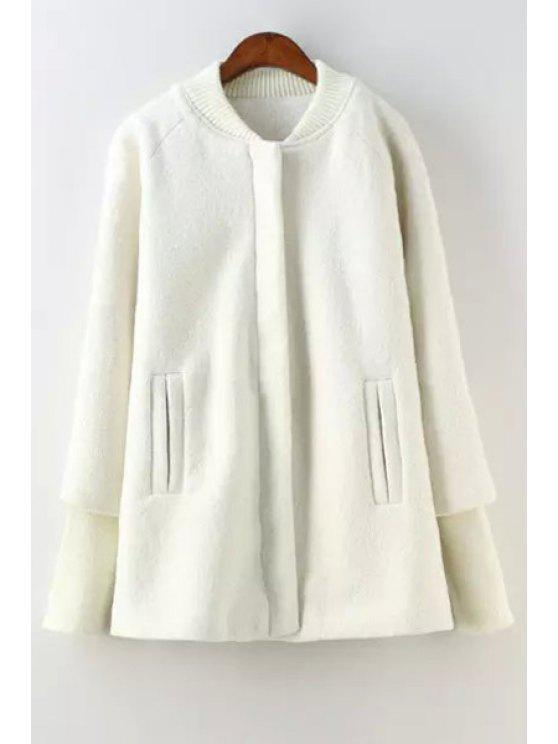 shop Round Neck Solid Color Zipper Fly Coat - WHITE XS
