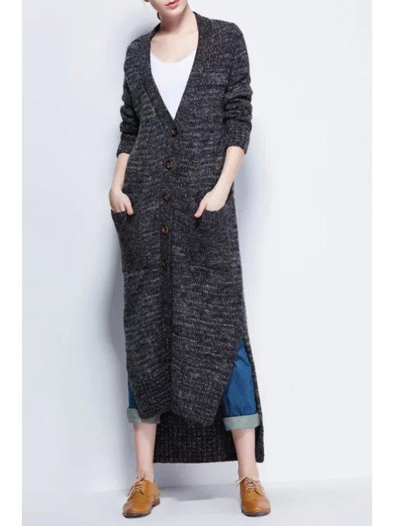 unique High Low Plunging Neck Long Sleeve Maxi Cardigan - DEEP GRAY ONE SIZE(FIT SIZE XS TO M)