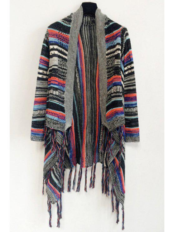 womens Tassels Irregular Hem Jacquard Cardigan - BLACK ONE SIZE(FIT SIZE XS TO M)