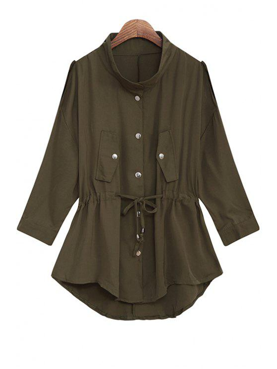 ladies Solid Color Stand Collar Waisted Chiffon Trench Coat - ARMY GREEN ONE SIZE(FIT SIZE XS TO M)