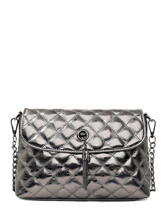 fancy Argyle Tassel Solid Color Crossbody Bag - GRAY