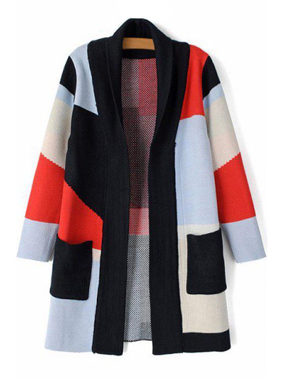 shop Turn-Down Collar Hit Color Long Sleeve Cardigan - BLACK S