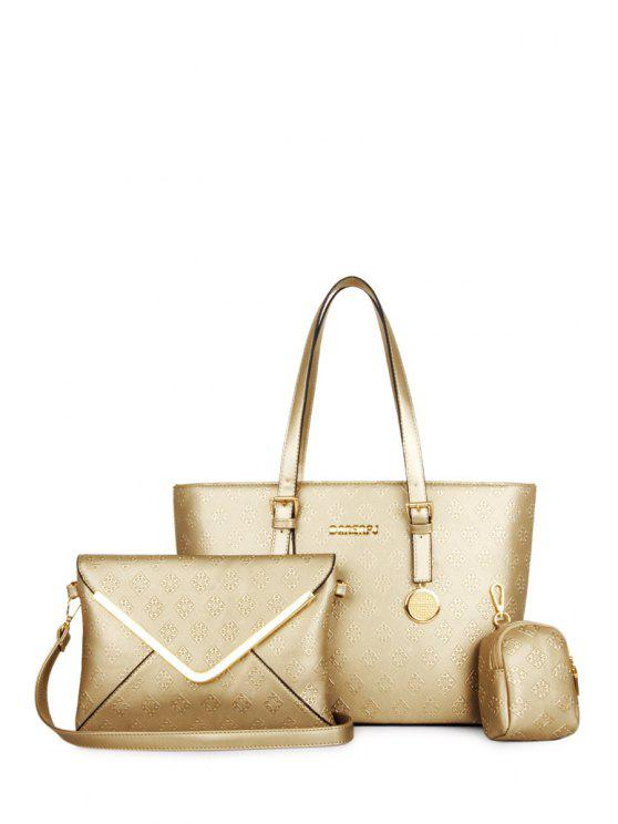 chic Embossing Argyle Solid Color Shoulder Bag - GOLDEN