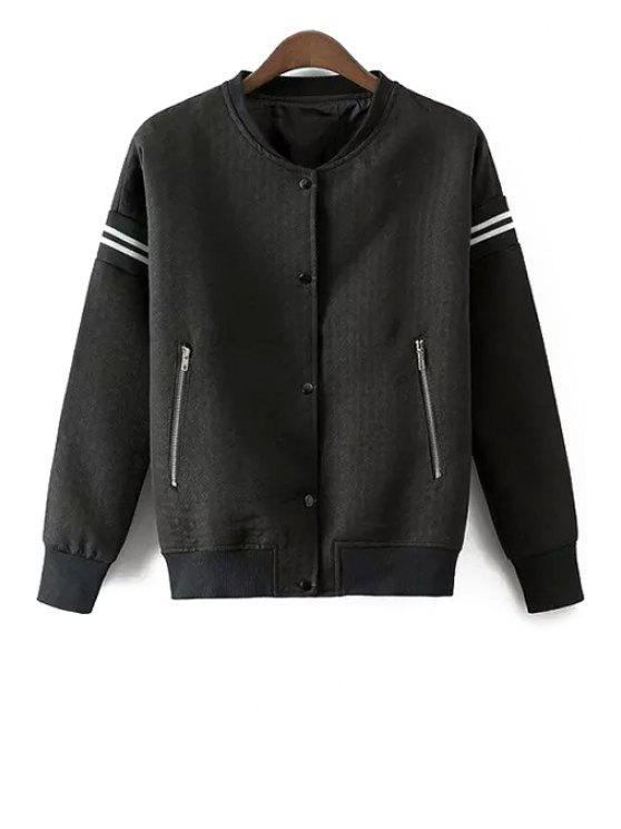 fashion Zip Pocket Baseball Jacket - BLACK S
