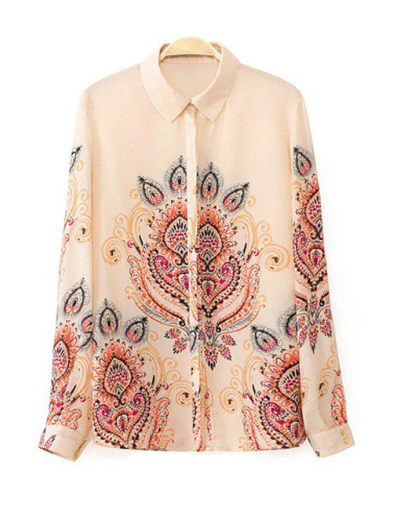 lady Retro Print Turn Down Collar Long Sleeve Shirt - AS THE PICTURE S
