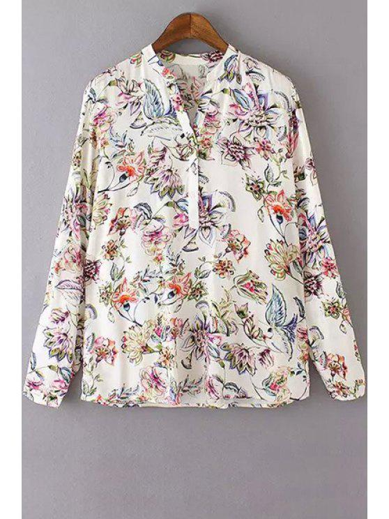 chic V Neck Colorful Floral Printed Long Sleeve Shirt - WHITE S