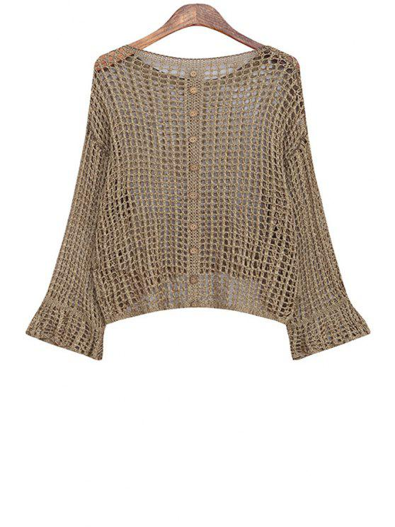 shop Loose-Fitting Knitted Hollow Out Pullover Sweater - COFFEE ONE SIZE(FIT SIZE XS TO M)