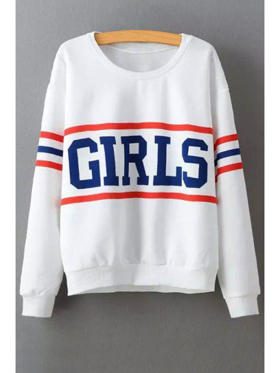 sale Letter Print Long Sleeve Baseball Sweatshirt - WHITE S