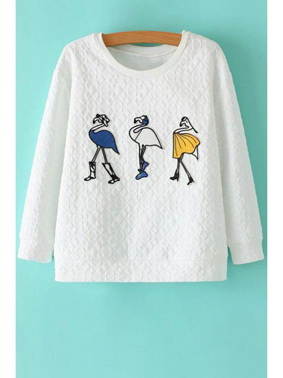trendy Round Neck Cartoon Pattern Sweatshirt - WHITE S