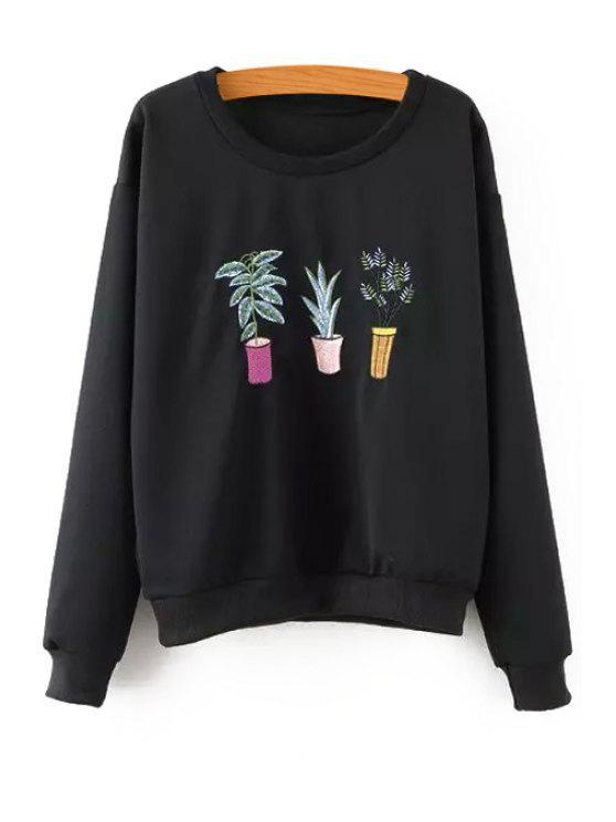 womens Plant Embroidery Long Sleeve Sweatshirt - BLACK S