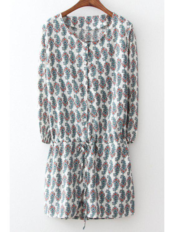 women Full Paisley Print Long Sleeve Playsuit - GRAY M