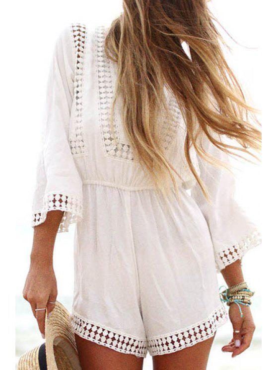 fashion White Lace Splicing 3/4 Sleeve Romper - WHITE S