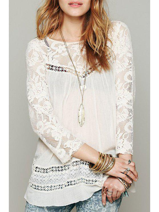 sale Back Split Lace Splicing 3/4 Sleeve Blouse - WHITE S