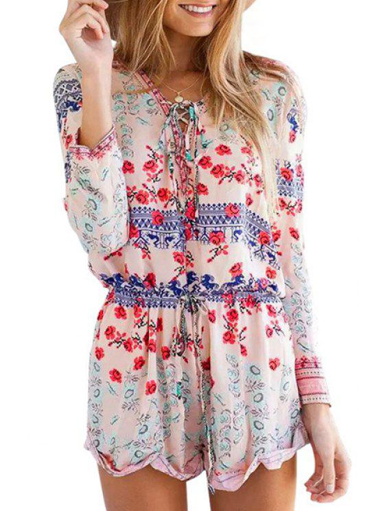 ladies Tiny Floral Print V Neck Long Sleeve Romper - RED S