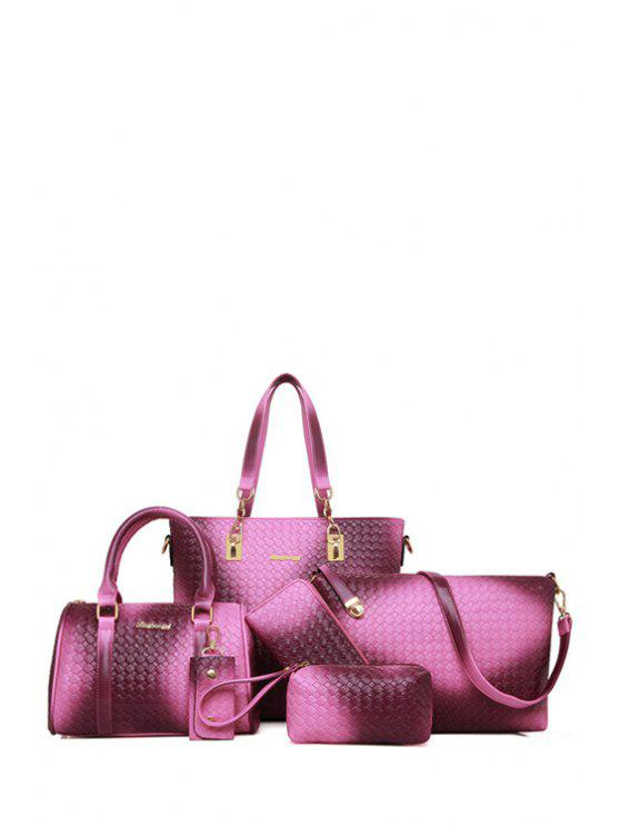 women's Woven Pattern Metal Zipper Shoulder Bag - PURPLE