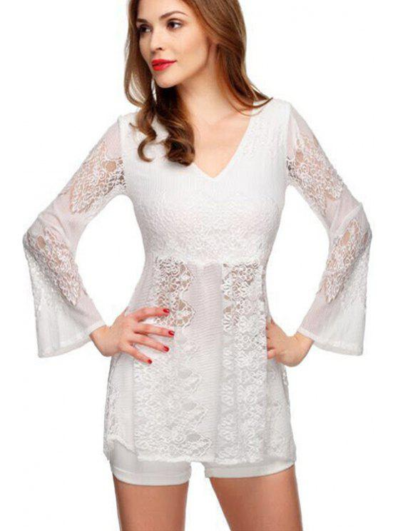 online V-Neck See-Through Lace Splicing Dress - WHITE S