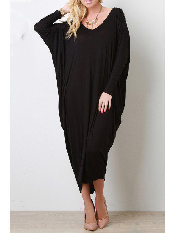 ladies Long Sleeve Baggy Style Dress - BLACK XL