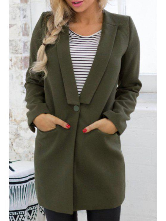 Abrigo del cuello de un botón - Verde S