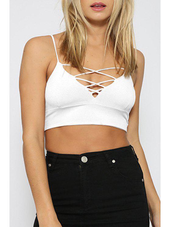 shop Pure Color Cami Crop Top - WHITE S