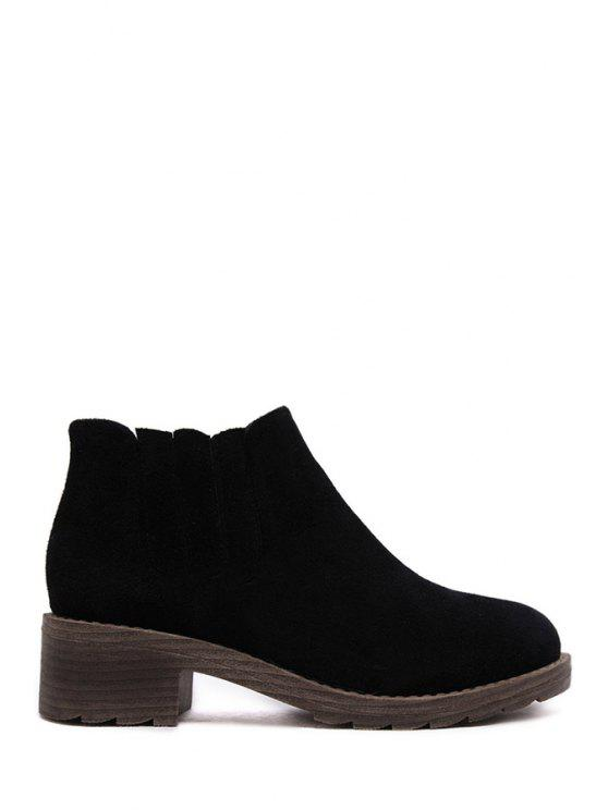women's Solid Color Elastic Suede Ankle Boots - BLACK 35