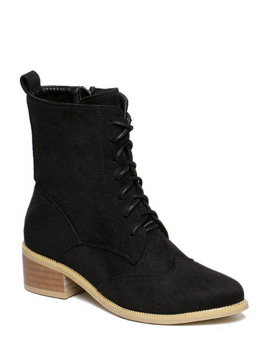 shops Lace-Up Suede Zipper Combat Boots - BLACK 34