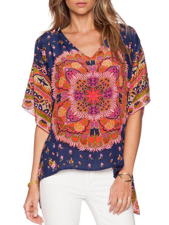 trendy Bohemian Print V Neck Half Sleeve Blouse - CADETBLUE S