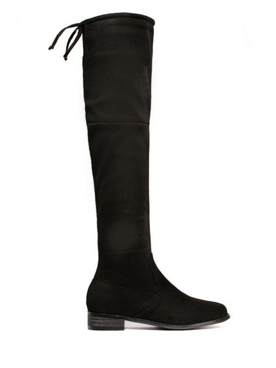 unique Lace-Up Zipper Over The Knee Boots - BLACK 35