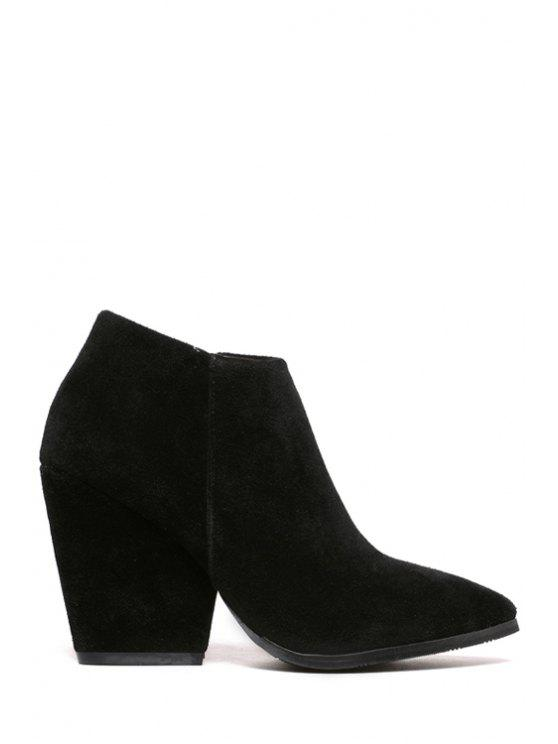 women's Pointed Toe Suede Zipper Ankle Boots - BLACK 38